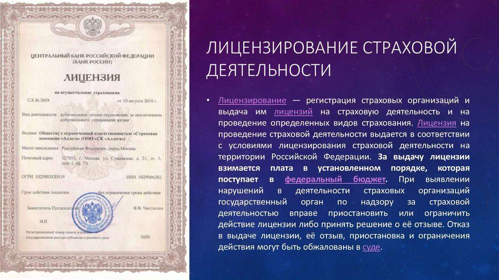 лицензирование страховой деятельности