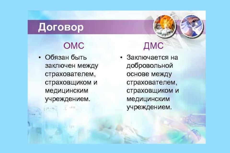 договора ОМС и ДМС